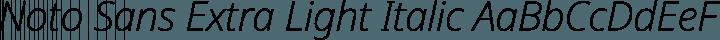 Noto Sans Extra Light Italic free font