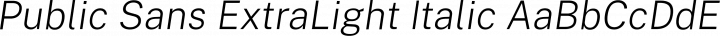 Public Sans ExtraLight Italic free font
