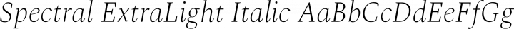 Spectral ExtraLight Italic free font