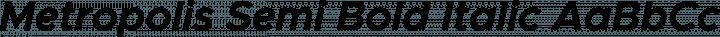 Metropolis Semi Bold Italic free font