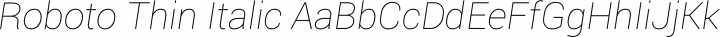 Roboto Thin Italic free font