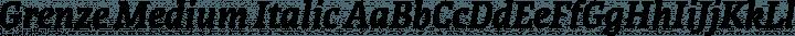 Grenze Medium Italic free font